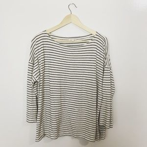 Eileen Fisher organic cotton striped blouse large